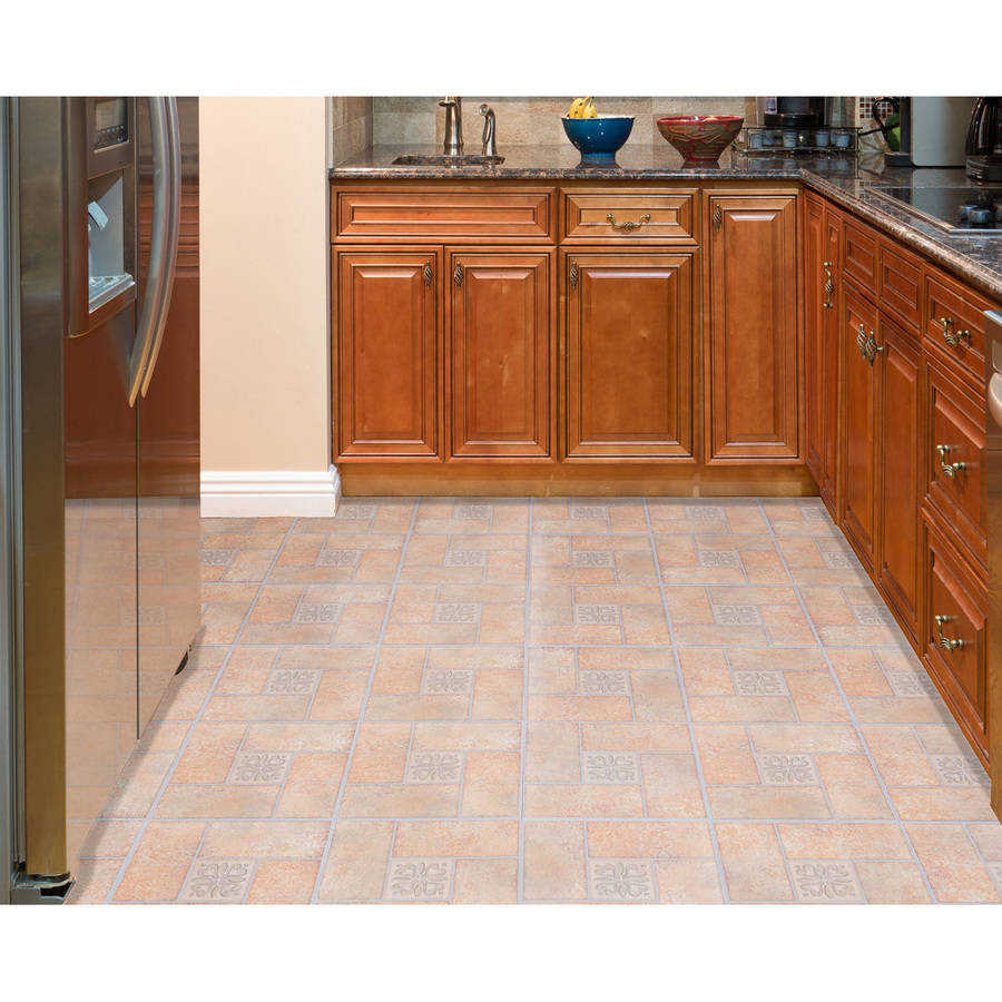 Achim Nexus Beige Terracotta Motif Center 12x12 Self Adhesive Vinyl Floor Tile - 20 Tiles/20 sq. ft.