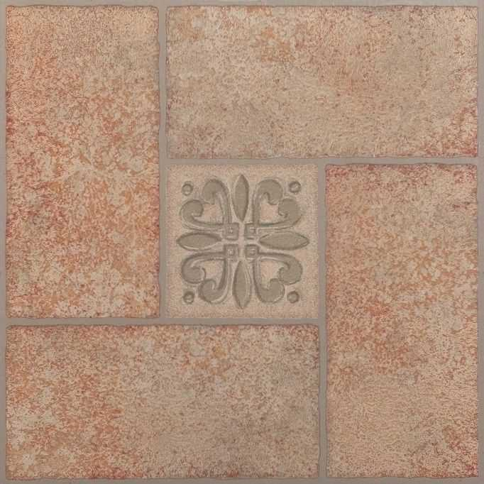Achim Tivoli Beige Terracotta Motif Center 12x12 Self Adhesive Vinyl Floor Tile - 45 Tiles/45 sq. ft.