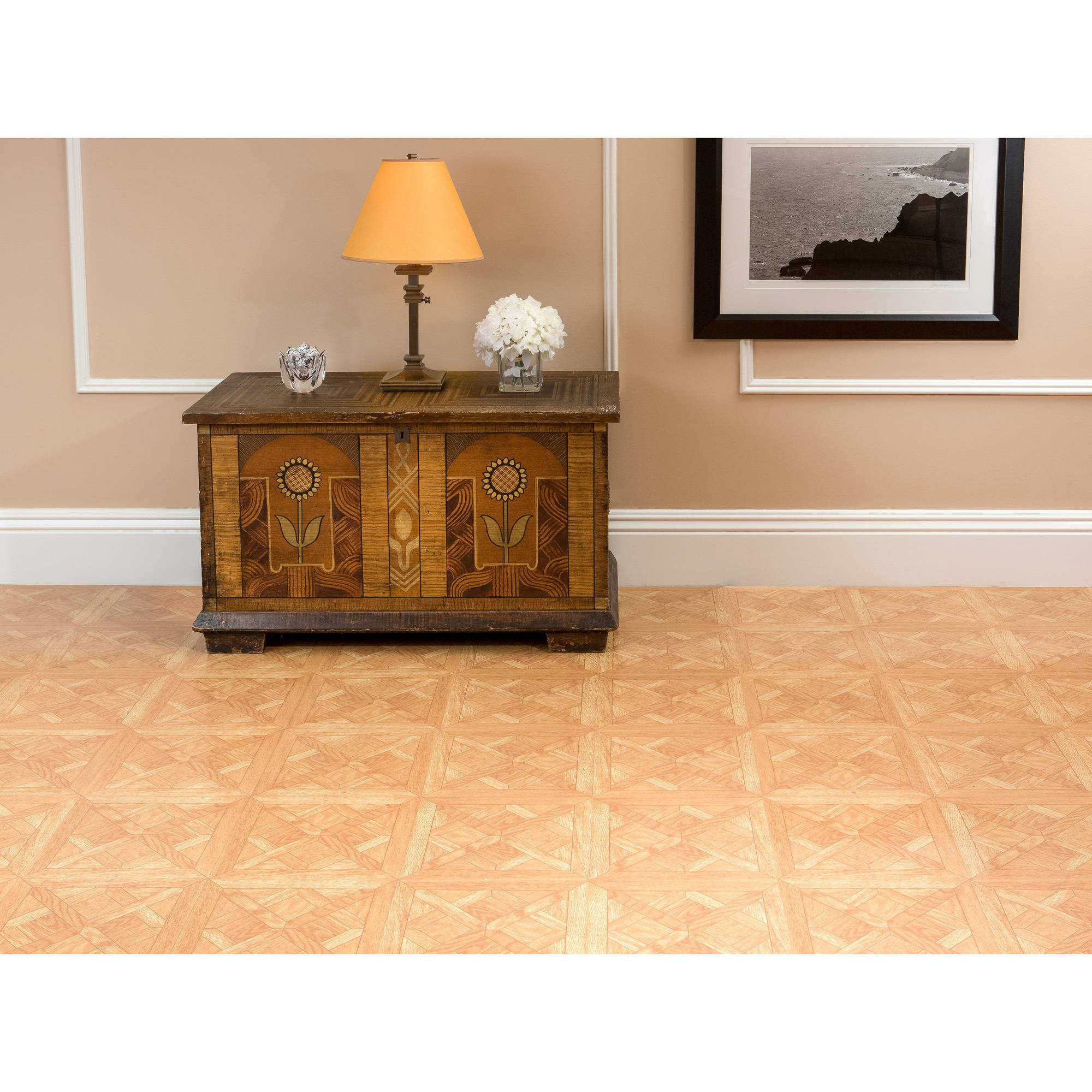 Nexus Classic Parquet Oak 12x12 Self Adhesive Vinyl Floor Tile - 20 Tiles/20 sq. ft.