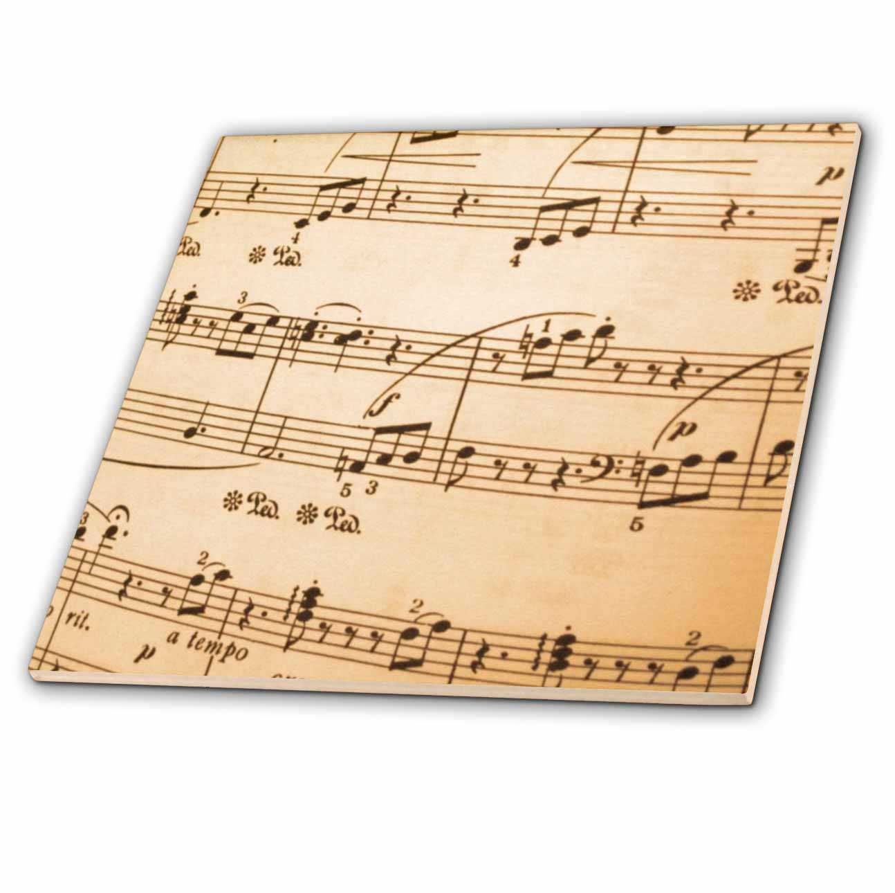3dRose Sheet Music - Ceramic Tile, 6-inch