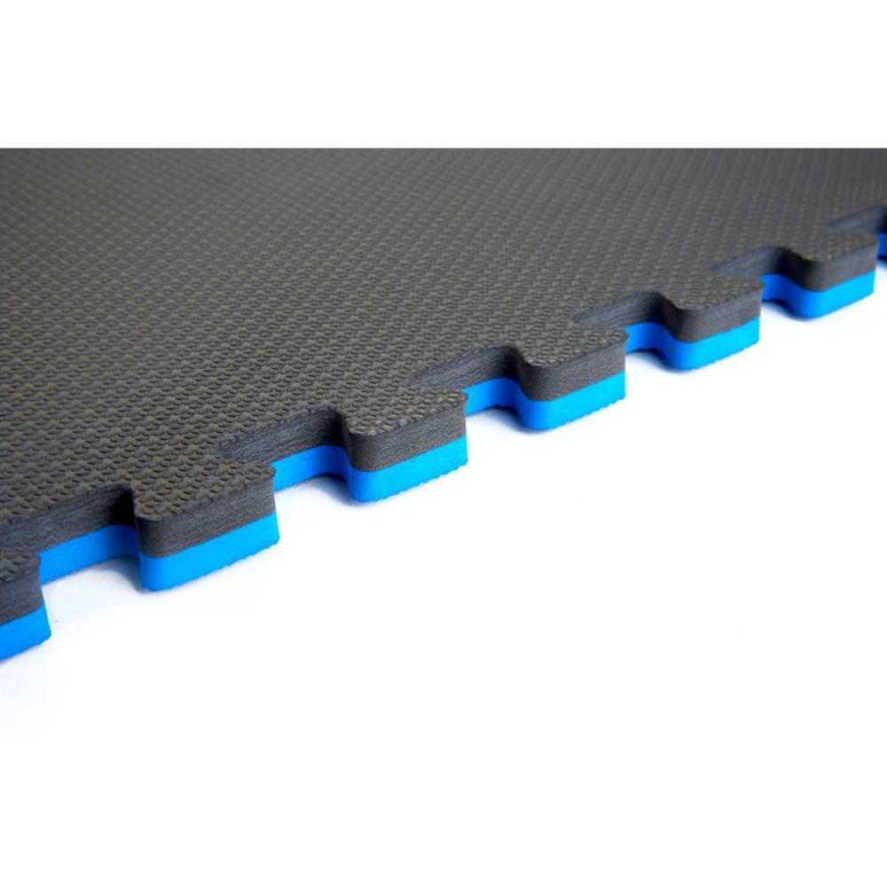 Norsk Blue/Black 24 in. x 24 in. EVA Foam Sport Multi-Purpose Reversible Interlocking Tile (20-Tile)