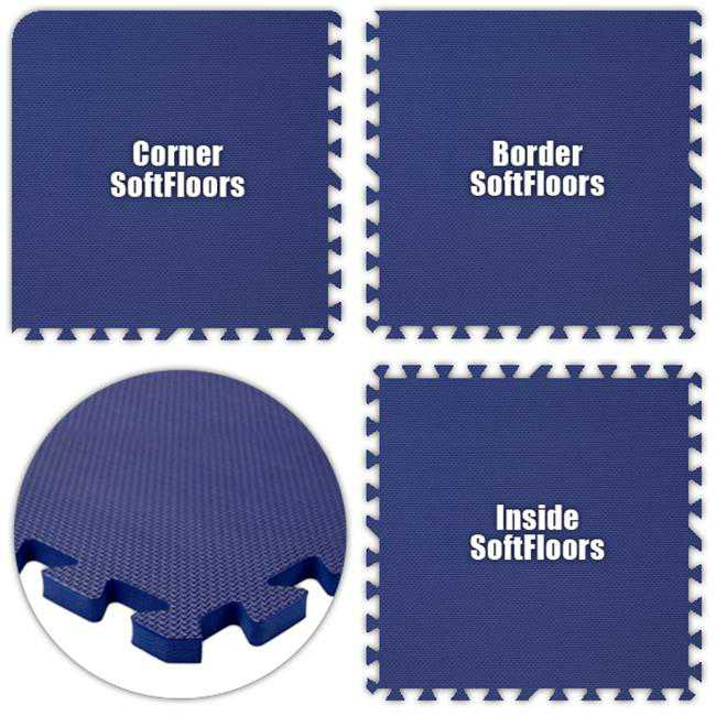 Alessco SFRB1620 SoftFloors -Royal Blue -16 x 20 Set - Pack of 8