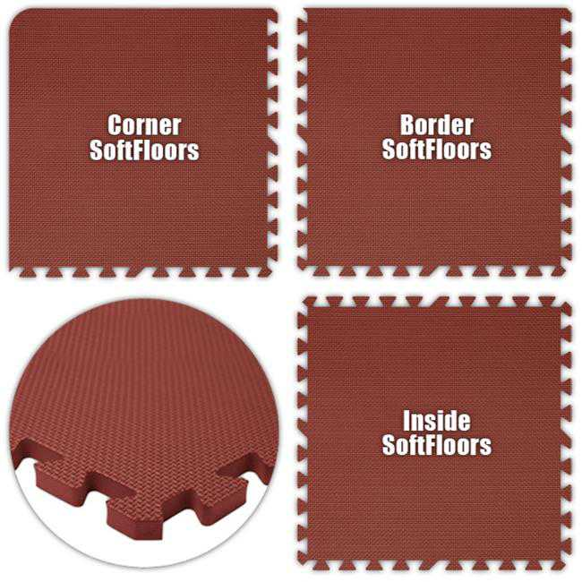 Alessco SFBY1038 SoftFloors -Burgundy -10 x 38 Set